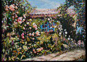 Jardin,fleurs,huile,ninaparra,galerie castillon,style figuratif,Provence,artiste-peintre,Municipalité de Sanary,impressionnisme