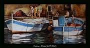 pointus,bateaux,nina,parra,peinture,marine,port et pointus,glacis,huile,acrylique,reflets,Provence.