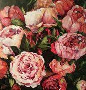 pivoines ,fleurs,acrylique,nina parra,peinture